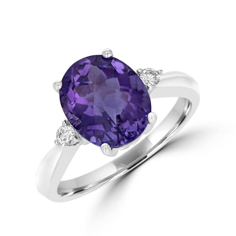 9X11 OVAL CHECKERED AMETHYST WITH ONE DIAMOND ON EACH SIDE RING