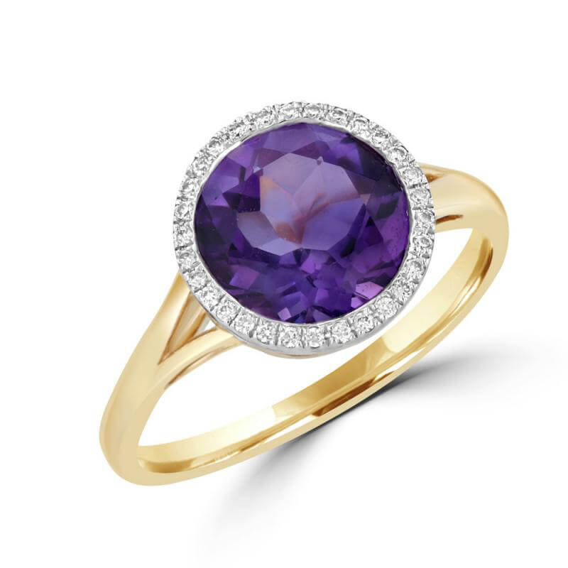 9MM ROUND AMETHYST SURROUNDED BY DIAMONDS RING