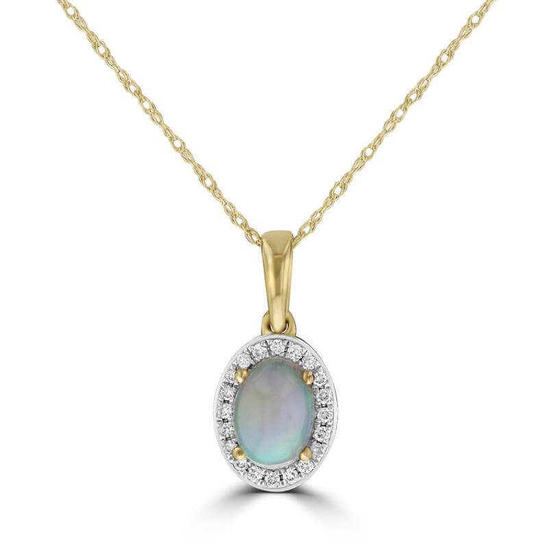 JCX392196: 5X7 OVAL OPAL HALO PENDANT (CHAIN NOT INCLUDED)