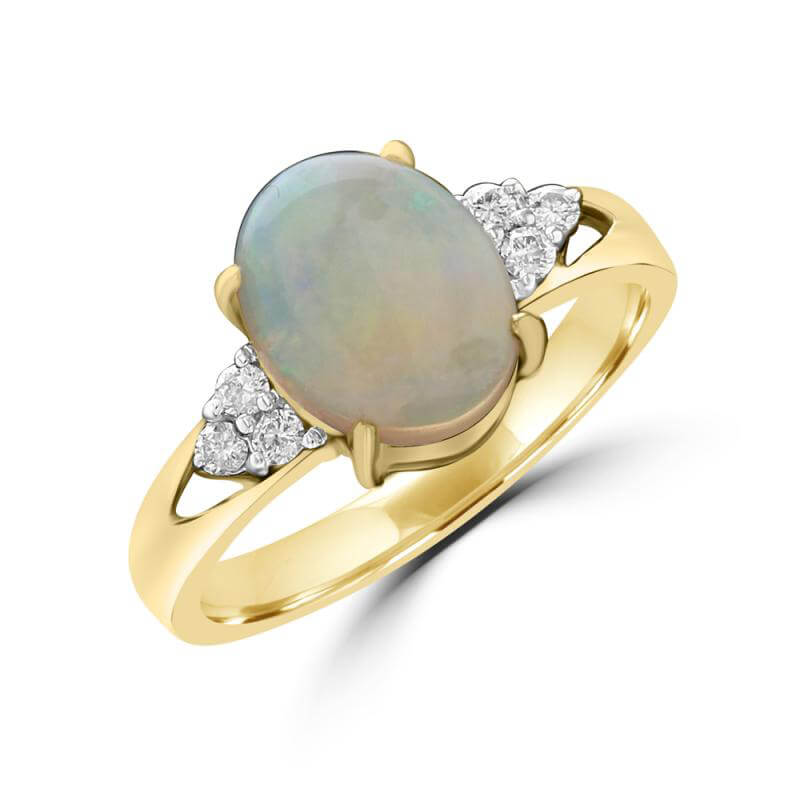 8X10 OVAL OPAL AND THREE DIAMONDS EACH SIDE RING
