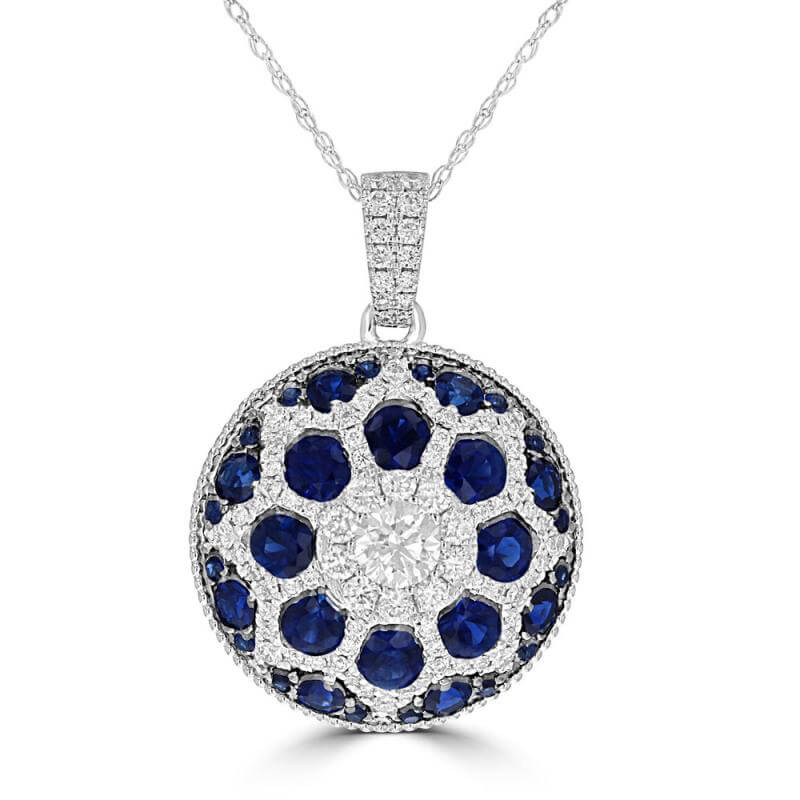 ROUND SAPPHIRE AND DIAMOND PENDANT (CHAIN NOT INCLUDED)