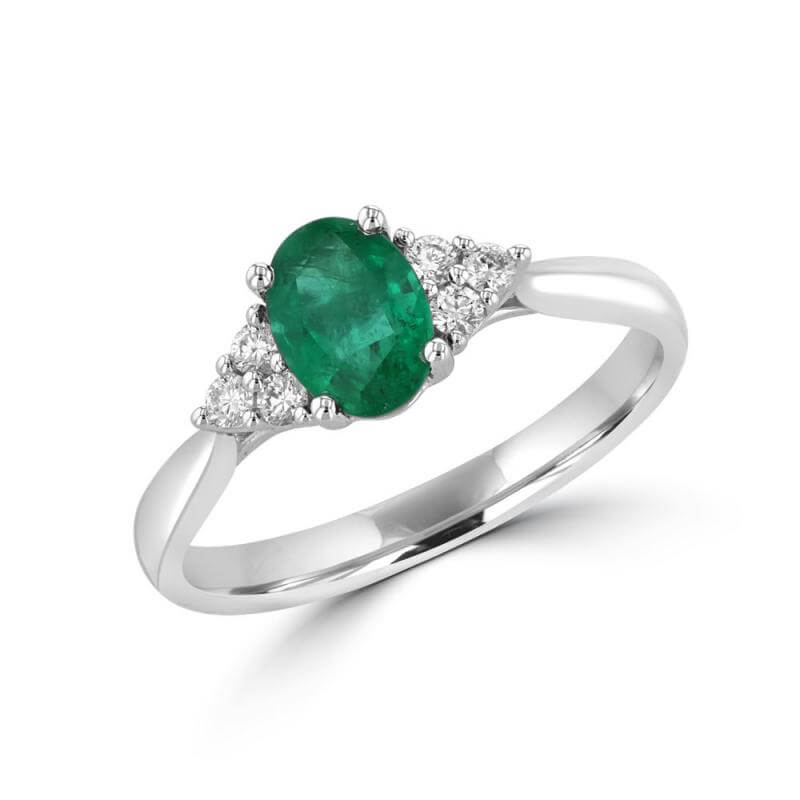 OVAL EMERALD WITH 3 ROUND DIAMONDS ON EACH SIDE RING