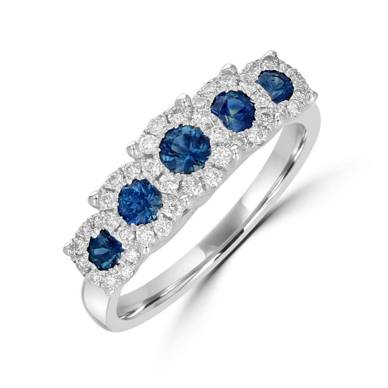 FIVE ROUND SAPPHIRES SURROUNDED BY DIAMONDS RING BAND
