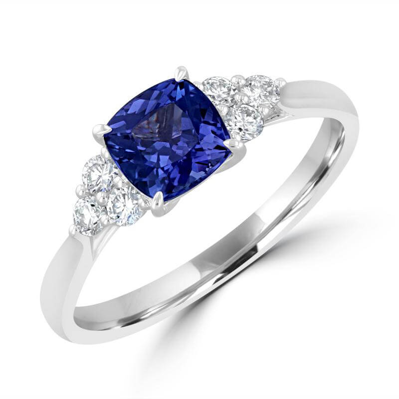 6MM CUSHION TANZANITE WITH THREE ROUND DIAMONDS ON EACH SIDE RING
