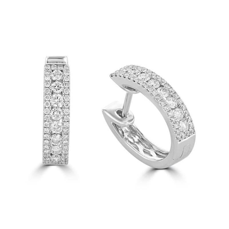 ROUND DIAMOND PRONG HUG EARRINGS