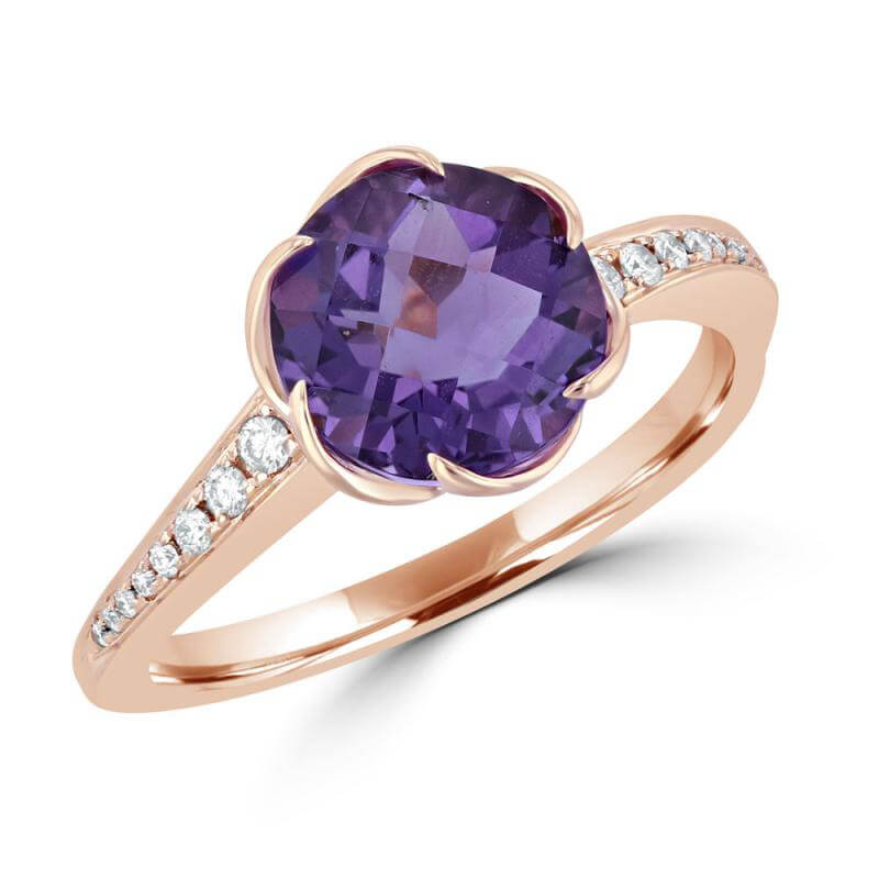 9MM ROUND AMETHYST WITH DIAMONDS ON SHANK RING