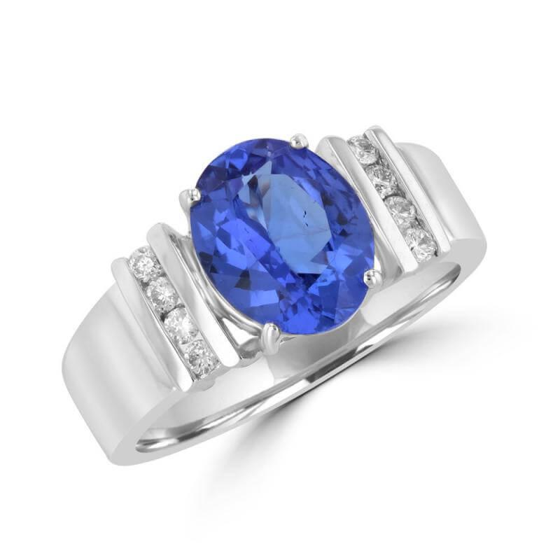 OVAL TANZANITE AND ROUND DIAMOND RING