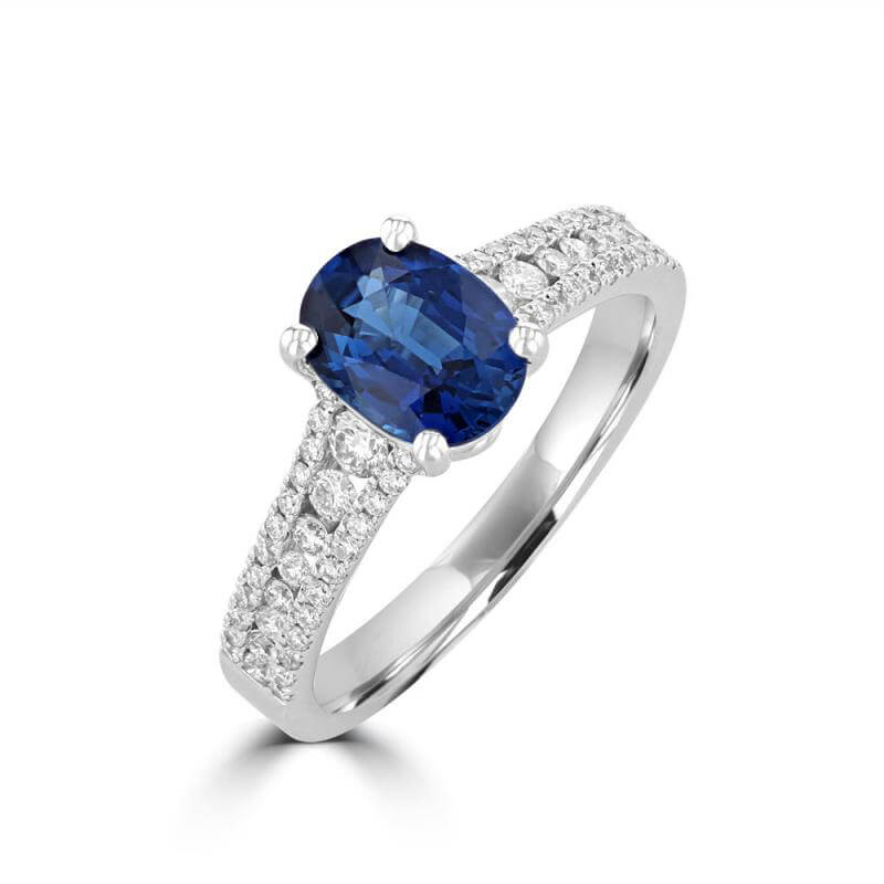 6X8 OVAL SAPPHIRE AND ROUND DIAMONDS ON SHANK RING