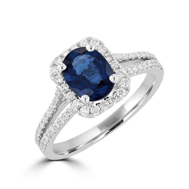 6X8 OVAL SAPPHIRE HALO AND TWO ROWS ROUND DIAMONDS ON SHANK RING