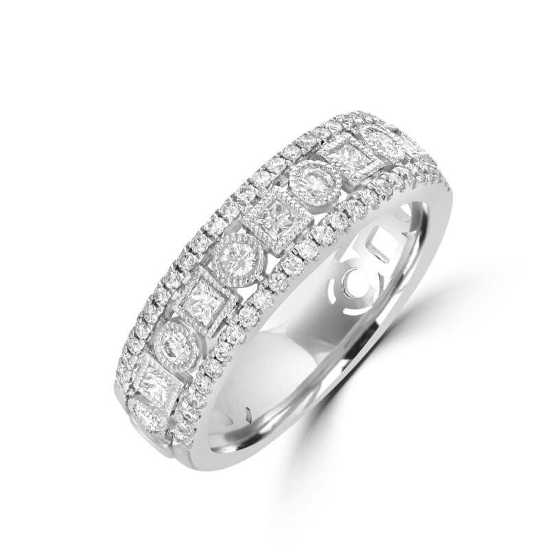 ROUND AND SQUARE DIAMOND ALTERNATING BAND RING