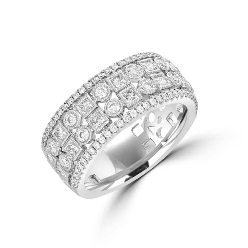 SQUARE AND ROUND DIAMOND ALTERNATING BAND RING
