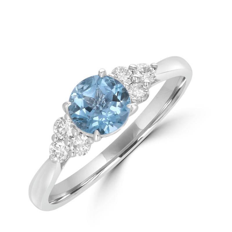 JCX392263: 6MM ROUND AQUAMARINE WITH THREE DIAMONDS ON EACH SIDE RING