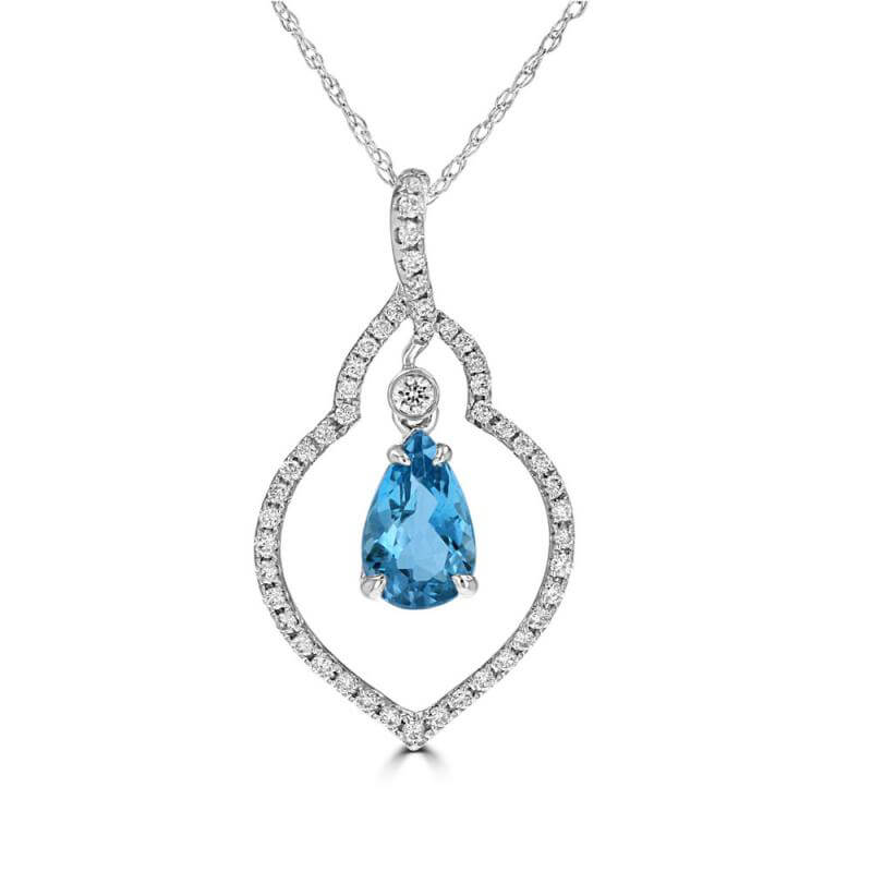 5X8 PEAR AQUAMARINE WITH ROUND DIAMONDS PENDANT (CHAIN NOT INCLUDED)