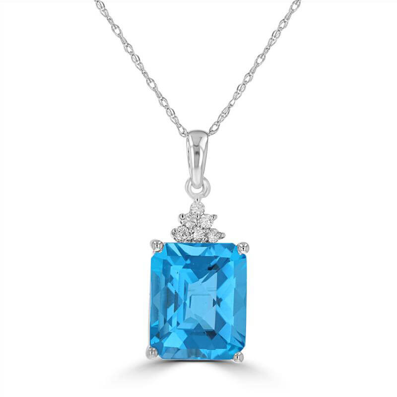 9X11 CHECKERED BAGUETTE BLUE TOPAZ WITH SIX DIAMONDS ON TOP PENDANT (CHAIN NOT INCLUDED)
