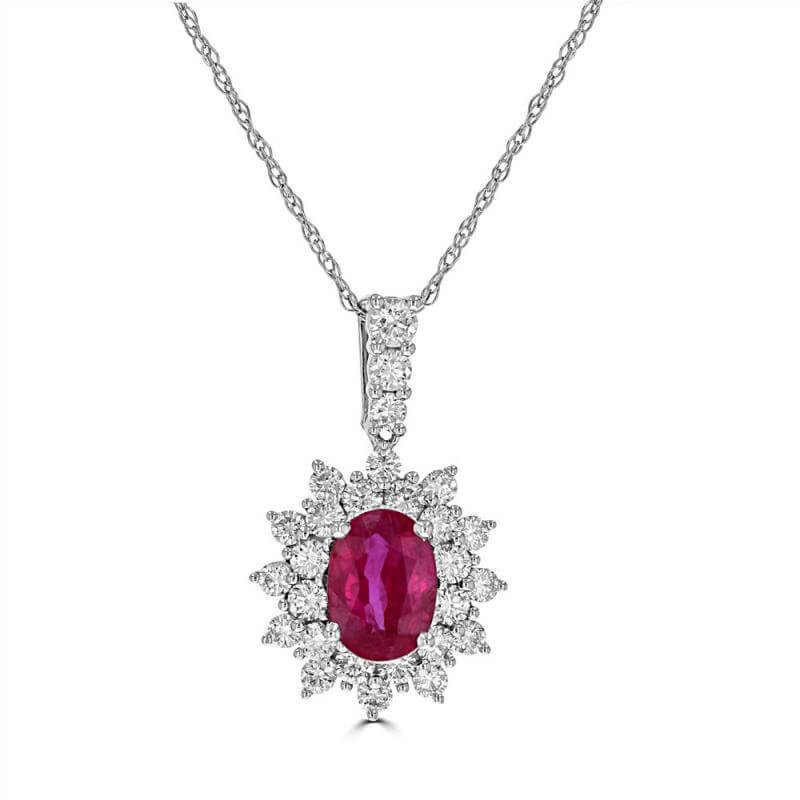 5X7 OVAL RUBY SURROUNDED BY TWO ROW DIAMONDS PENDANT (CHAIN NOT INCLUDED)
