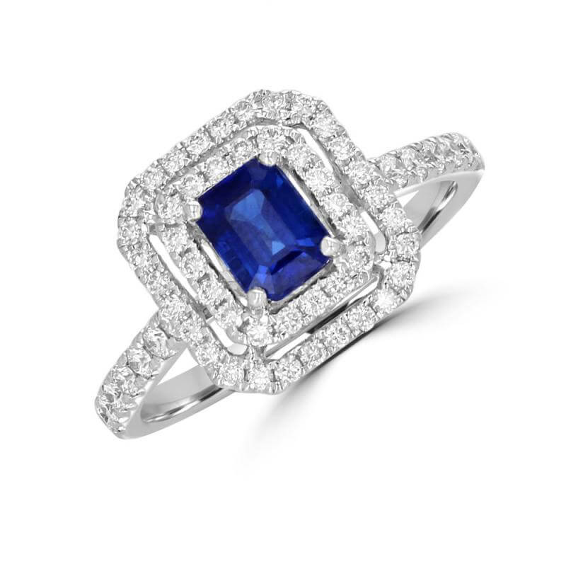 BAGUETTE SAPPHIRE SURROUNDED BY TWO ROW ROUND DIAMONDS AND DIAMONDS ON SHANK RING