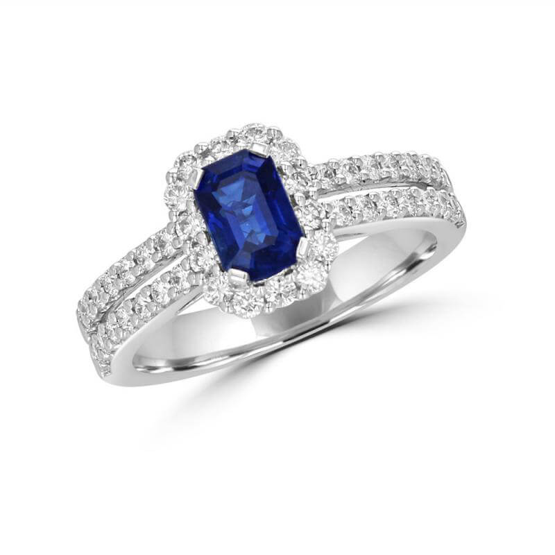 BAGUETTE SAPPHIRE HALO WITH TWO ROW ROUND DIAMONDS ON SHANK RING