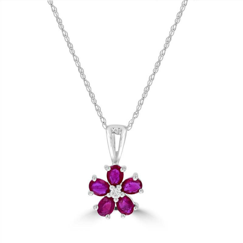 OVAL RUBY AND ROUND DIAMOND FLOWER PENDANT (CHAIN NOT INCLUDED)