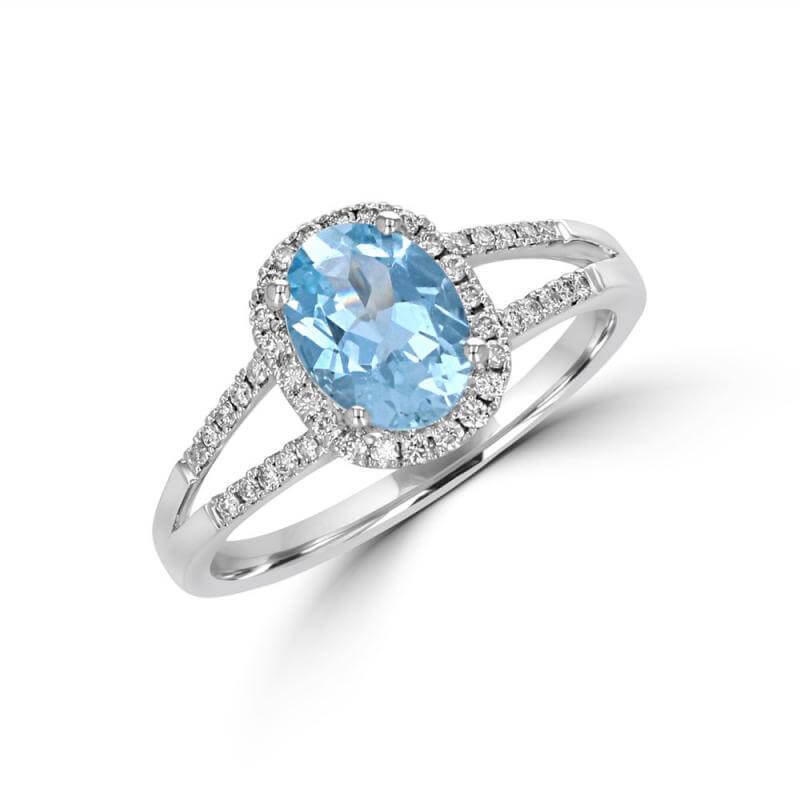 JCX392295: 6X8 OVAL AQUAMARINE HALO WITH TWO ROWS ROUND DIAMONDS ON SHANK RING