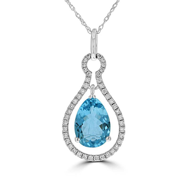 8X11 PEAR AQUAMARINE AND ROUND DIAMONDS PENDANT (CHAIN NOT INCLUDED)