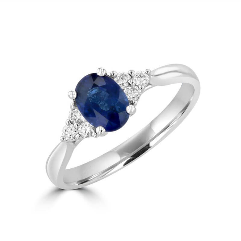 5X7 OVAL SAPPHIRE WITH THREE DIAMONDS ON EACH SIDE RING