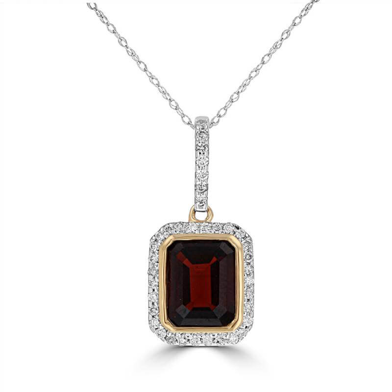 EMERALD CUT GARNET SURROUNDED BY PAVE DIAMOND PENDANT (CHAIN NOT INCLUDED)