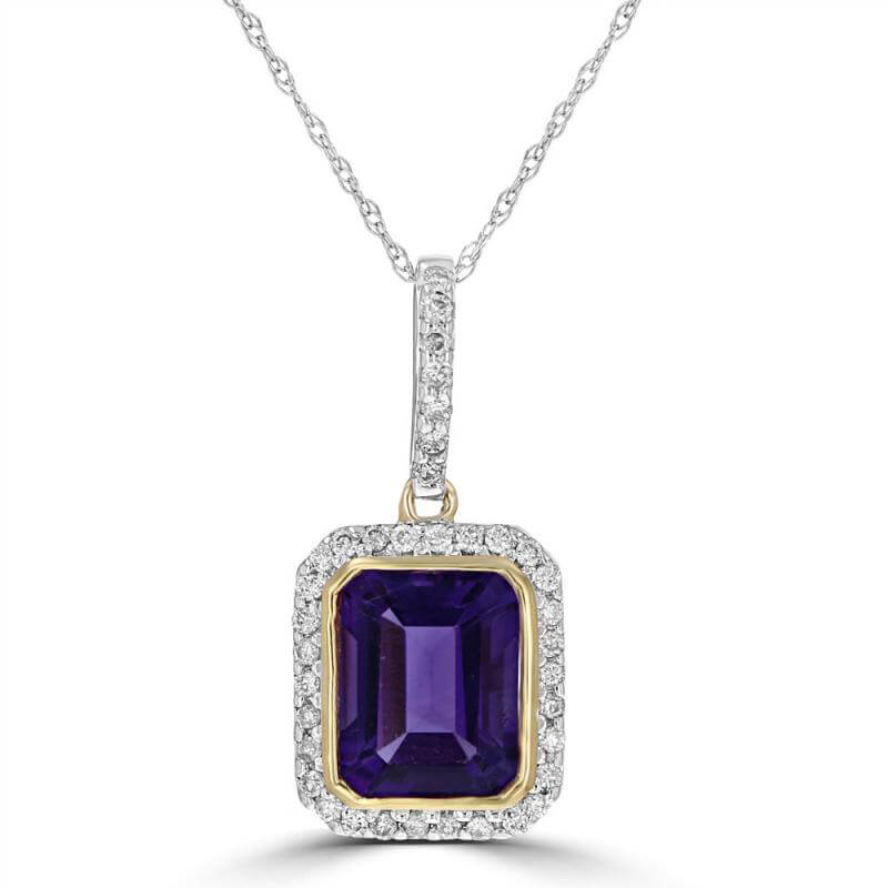 JCX392312: EMERALD CUT AMETHYST SURROUNDED BY PAVE DIAMOND PENDANT (CHAIN NOT INCLUDED)