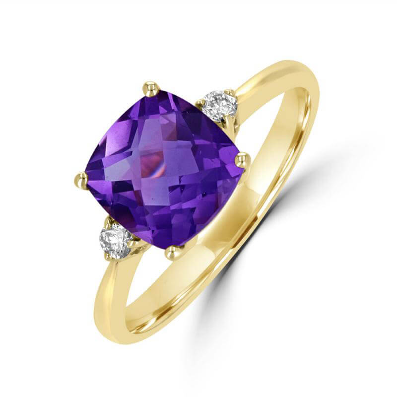 8MM CUSHION AMETHYST AND ONE ROUND DIAMOND ON EACH SIDE RING