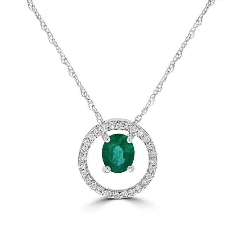 4X5 OVAL EMERALD SURROUNDED BY DIAMONDS PENDANT (CHAIN NOT INCLUDED)