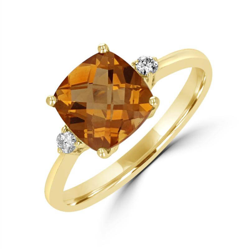 8MM CUSHION CHECKERED CITRINE AND ONE ROUND DIAMOND ON EACH SIDE RING