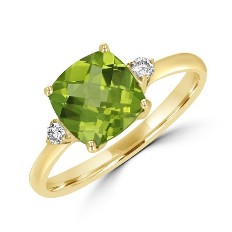 8MM CUSHION CHECKERED PERIDOT AND ONE ROUND DIAMOND ON EACH SIDE RING