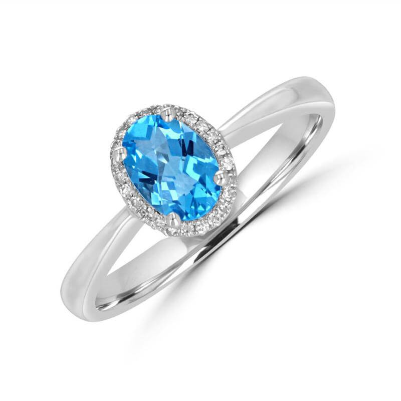 JCX392329: 5X7 OVAL CHECKERED BLUE TOPAZ HALO RING