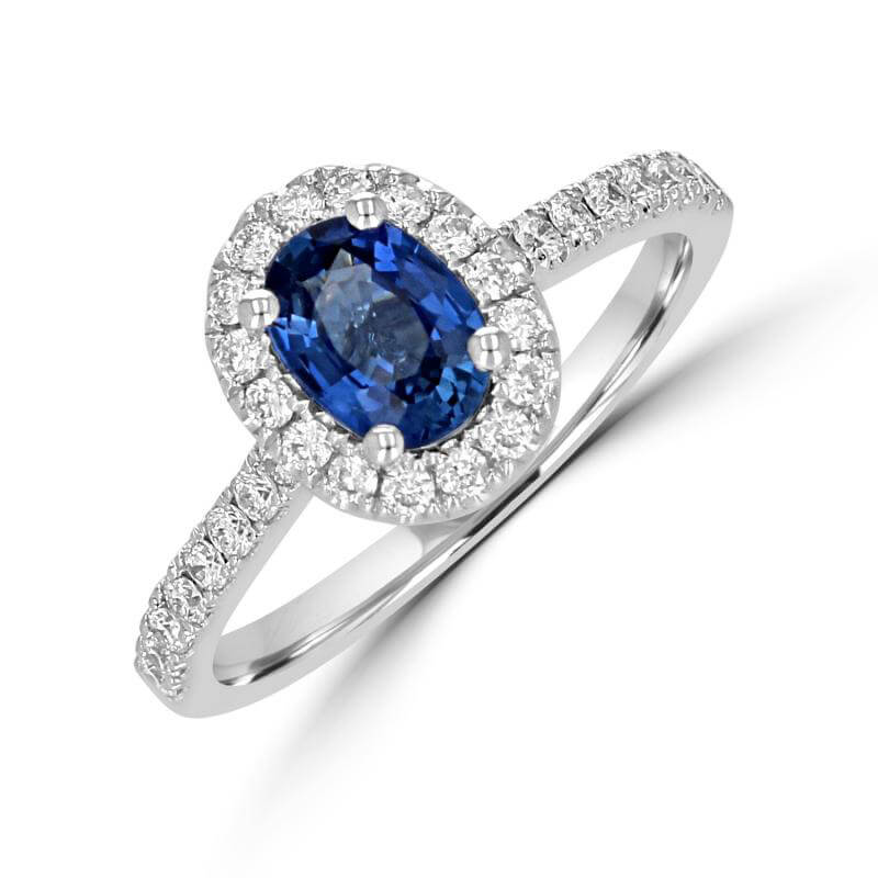 5X7 OVAL SAPPHIRE HALO WITH ROUND DIAMONDS ON SHANK RING