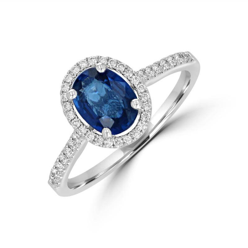 6X8 OVAL SAPPHIRE HALO WITH ROUND DIAMONDS ON SHANK RING