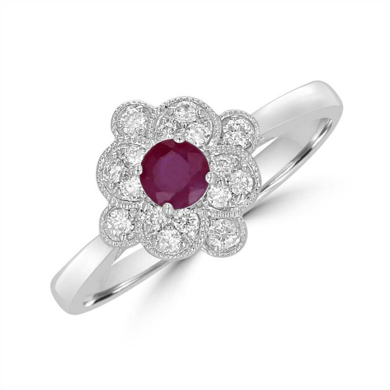 4MM ROUND RUBY SURROUNDED BY DIAMONDS RING