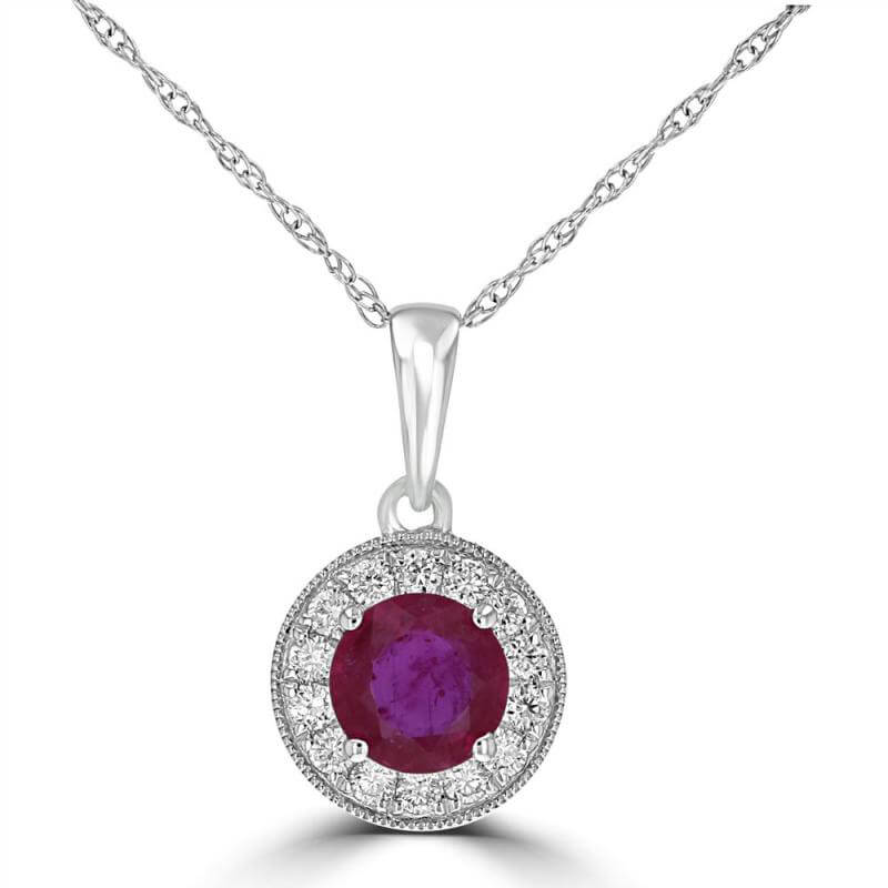 JCX392355: 5MM ROUND RUBY HALO PENDANT (CHAIN NOT INCLUDED)