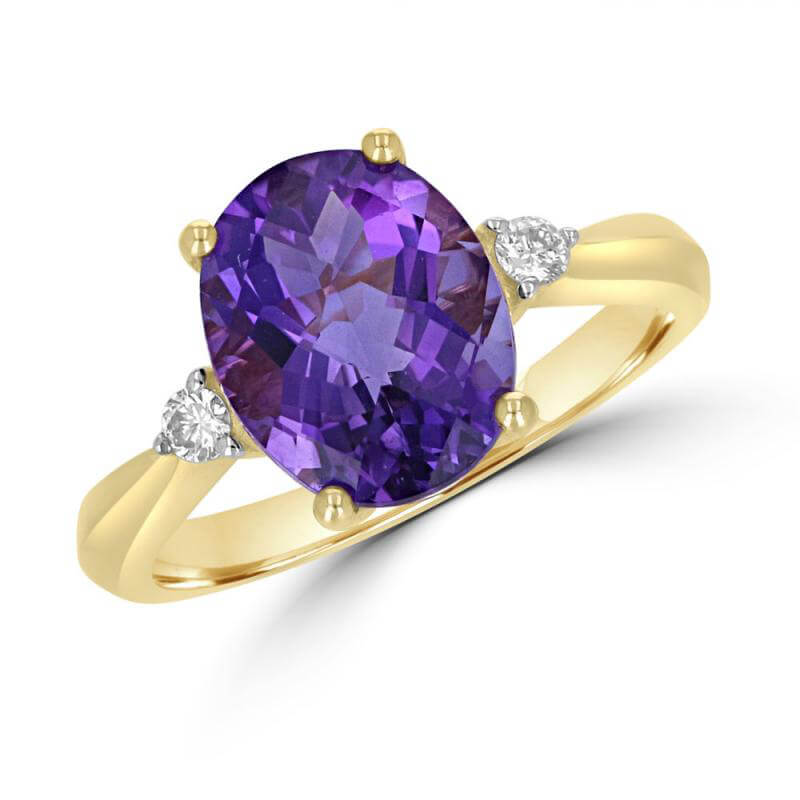 JCX392356: 9X11 OVAL CHECKERED AMETHYST WITH ONE DIAMOND ON EACH SIDE RING