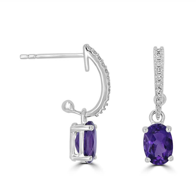 5X7 OVAL AMETHYST WITH ROUND DIAMOND DANGLE EARRINGS