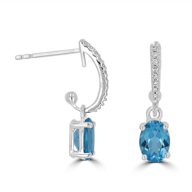 5X7 OVAL BLUE TOPAZ WITH ROUND DIAMONDS DANGLE EARRINGS