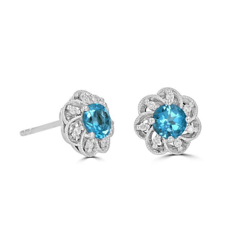 JCX392369: 5MM ROUND BLUE TOPAZ WITH DIAMONDS FLORAL LOOK EARRINGS