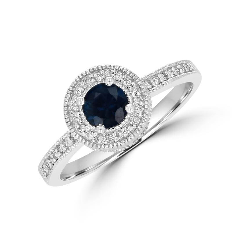 5MM ROUND SAPPHIRE BEADED TRIM WITH DIAMONDS ON SHANK RING