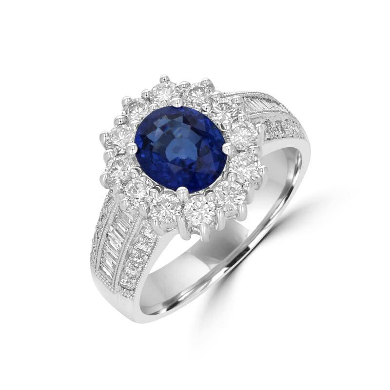 OVAL SAPPHIRE HALO WITH ROUND AND BAGUETTE DIAMONDS ON SHANK RING