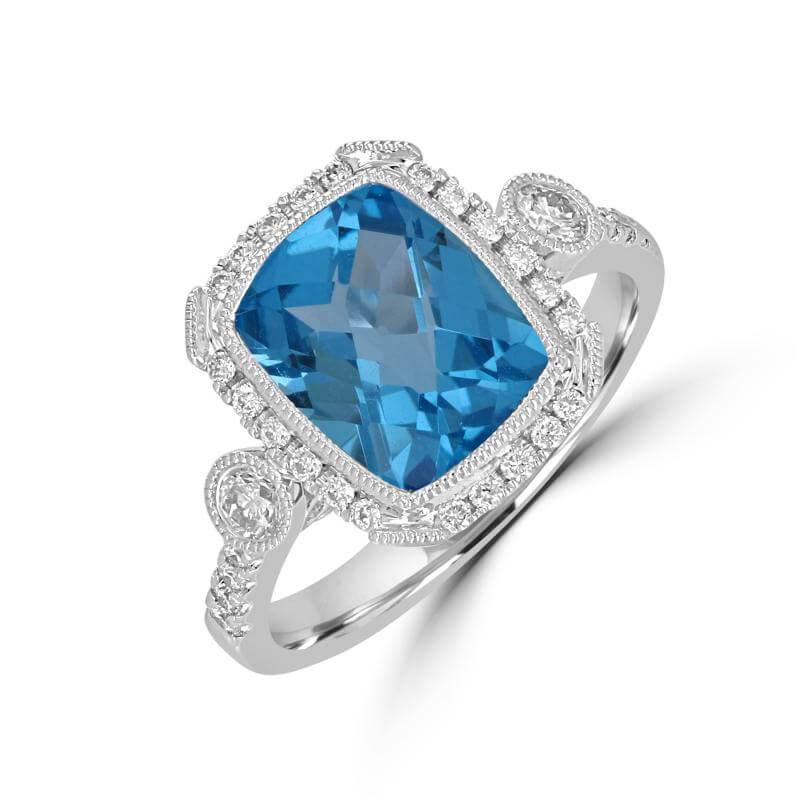 RECTANGLE CHECKERED BLUE TOPAZ HALO WITH ONE DIAMOND ON EACH SIDE AND DIAMOND...