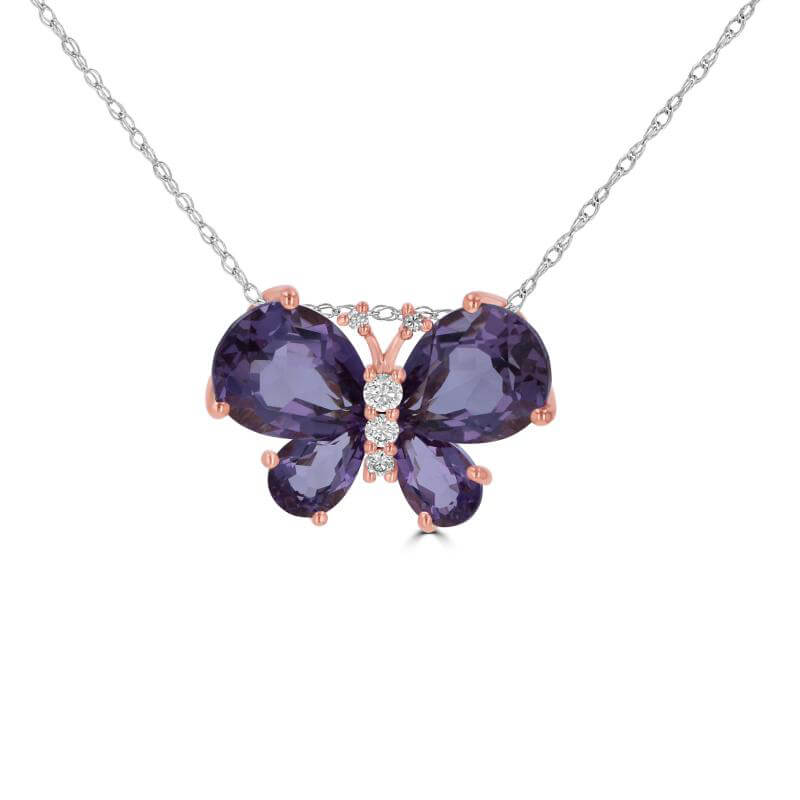 AMETHYST AND DIAMOND BUTTERFLY PENDANT (CHAIN NOT INCLUDED)