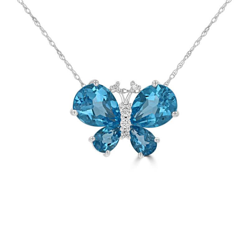 BLUE TOPAZ AND DIAMOND BUTTERFLY PENDANT (CHAIN NOT INCLUDED)