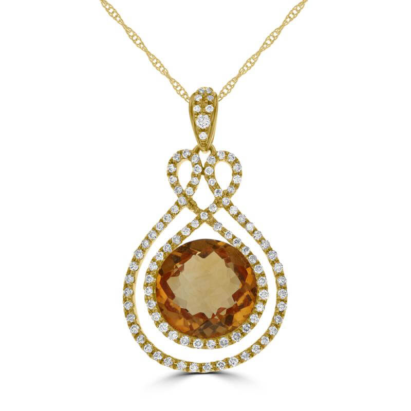 JCX392397: 10MM ROUND CHECKERED CITRINE SURROUNDED BY DIAMONDS PENDANT (CHAIN NOT INCLUDED)