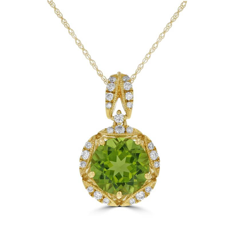 9MM ROUND PERIDOT SURROUNDED BY DIAMONDS PENDANT (CHAIN NOT INCLUDED)