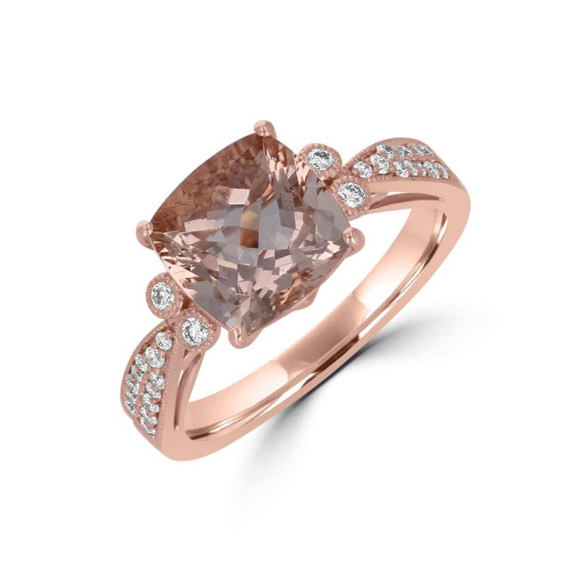 9MM CUSHION MORGANITE WITH TWO DIAMONDS ON EACH SIDE AND DIAMONDS ON SHANK RING