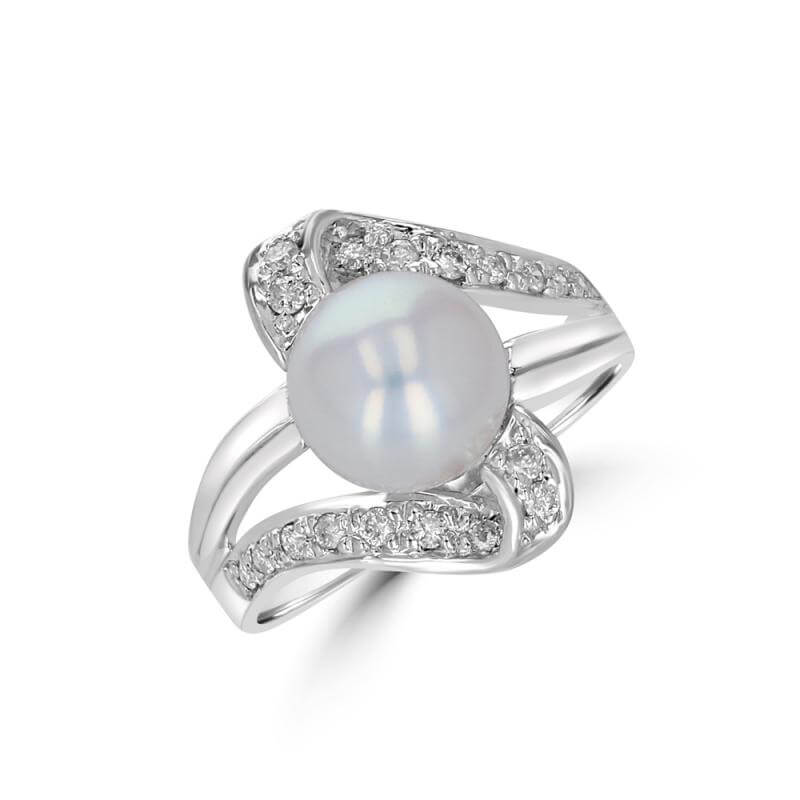 8-8.5MM PEARL AND DIAMOND RING