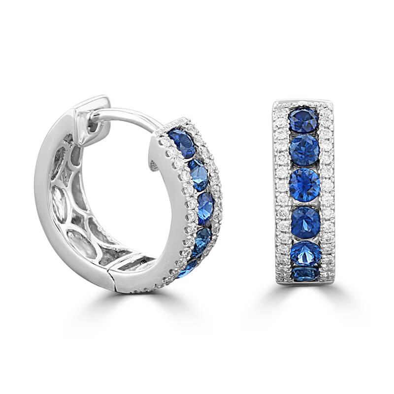 ROUND SAPPHIRE AND ROUND DIAMOND HUG EARRINGS